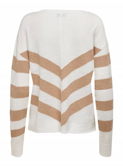 PULLOVER FEM KNIT PC100 - BROWN - STRIPE