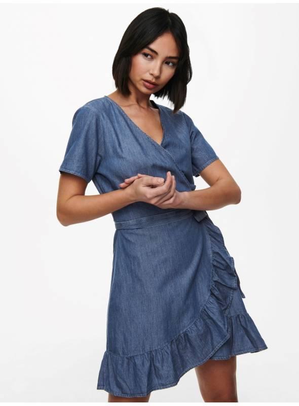 DRESS FEM WOV CO100 - BLUE -