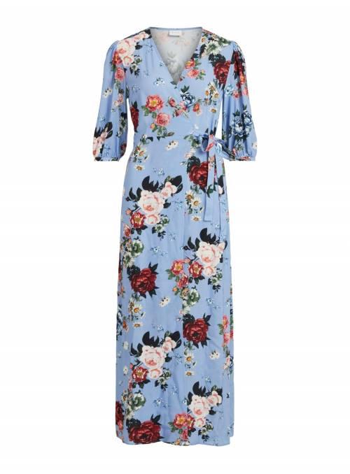 DRESS FEM WOV VI100 - BLUE - FLOWER COMB