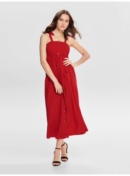 DRESS FEM WOV CO100 - RED -