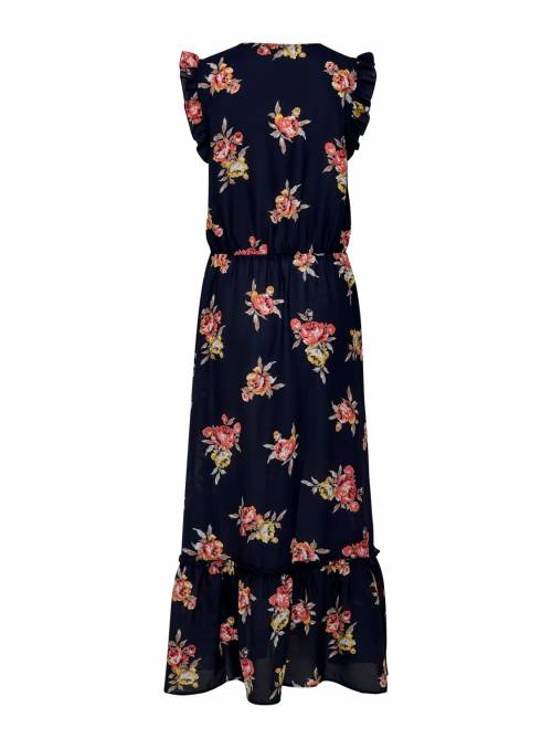 DRESS FEM WOV PL100 - BLUE - FLOWER PRIN