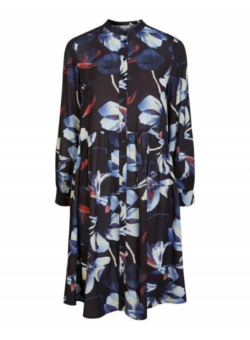 DRESS FEM WOV PRE100 - BLACK - BIG FLOWE