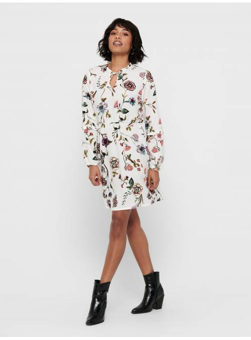 DRESS FEM WOV PL100 - WHITE - BIG FLOWER