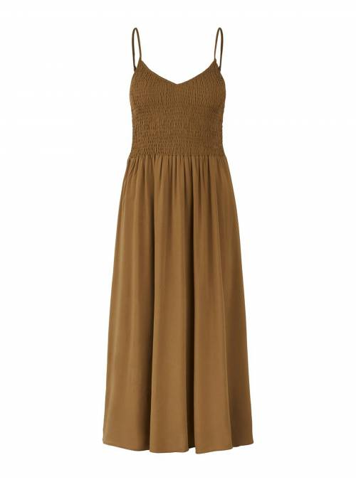 DRESS FEM WOV VI100 - BROWN -
