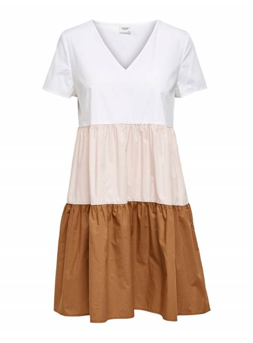 DRESS FEM WOV CO100 - WHITE - PEACH WHIP