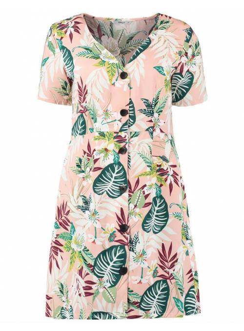 DRESS FEM WOV PL100 - ROSE - JUNGLE FLOW