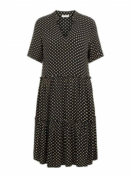 DRESS FEM WOV VI100 - BLACK - DOTS
